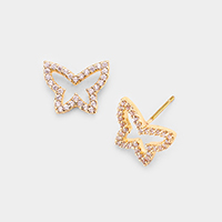 Brass Metal CZ Cubic Zirconia Butterfly Stud Earrings
