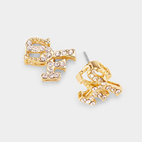 Gold Dipped CZ Cubic Zirconia SF Stud Earrings
