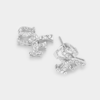 White Gold Dipped CZ Cubic Zirconia SF Stud Earrings