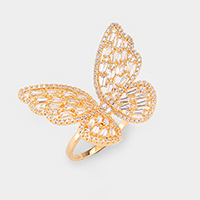 Gold Plated CZ Cubic Zirconia Butterfly Adjustable Ring
