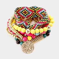 7PCS - Boho Multi Beaded Disc Charm Stretch Bracelets