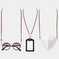 Metal Link Suede Mask Chain / Glasses Chain / I.D Holder Necklace