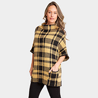 Plaid Pattern Pockets in Front Sweater