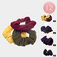 12 Set of 3 - Fabric Burnout Scrunchies Hair Bands