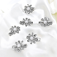 6PCS - Pearl Center Metal Flower Alligator Clips