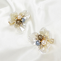 2PCS - Pearl Rhinestone Embellished Flower Alligator Clips