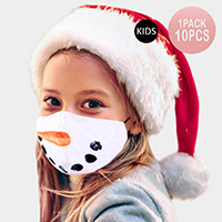 10PCS - Snowman Lip Print Cotton Kids Fashion Masks