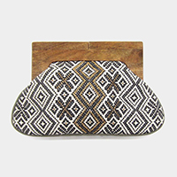 Boho Pattern Wood Closure Wide Clutch Bag