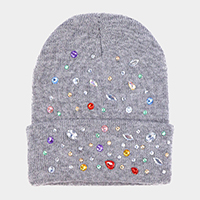 Bejeweled Foldover Beanie Hat