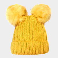 Double Pom Pom Knit Beanie Hat