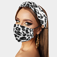 Leopard Print Cotton Fashion Mask Headband Set