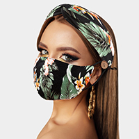 Tropical Leaf Flower Print Cotton Fashion Mask Headband Set