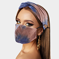 Tie Dye Print Cotton Fashion Mask Headband Set