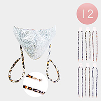 12PCS - Leopard Patterned Cord Mask Chains