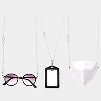 Metal Infinity Accented Mask Chain / Glasses Chain / I.D Holder Necklace
