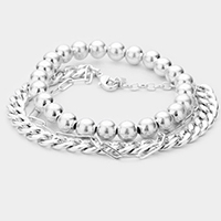 2PCS - Metal Ball Chain Stretch Bracelets
