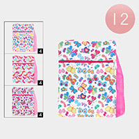 12PCS - Butterfly Flower Print Zipper Cossbody Bags
