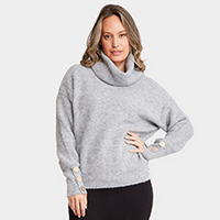Plain Color Turtleneck Button on Sleeves Sweater