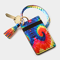 Tie Dye Pattern Faux Leather Key Chain / Bracelet / Card Holder Wallet