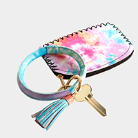 Tie Dye Pattern Faux Leather Key Chain / Bracelet / Pouch Bag
