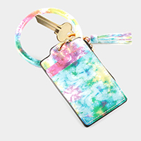 Tie Dye Pattern Faux Leather Key Chain / Bracelet / Card Holder / Coin Zipper Purse