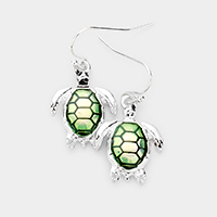Enamel Turtle Dangle Earrings