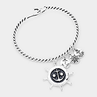 Anchor Ship Heel Charm Hook Bracelet
