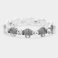 Metal Shell Round Stone Stretch Bracelet