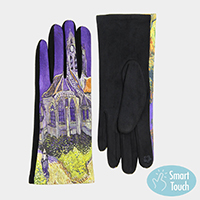 Church at Auvers Print Smart Touch Gloves