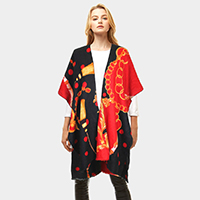 Chain Pattern Print Cashmere Feel Shawl Poncho