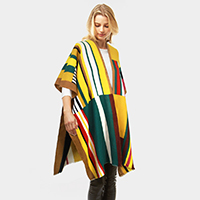 Mixed Color Liner Cashmere Feel Shawl Poncho
