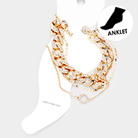 3PCS - Rhinestone Open Circle Chain Layered Anklets