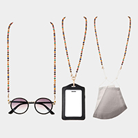 Wood Bead Mask Chain / Glasses Chain / I.D Holder Necklace