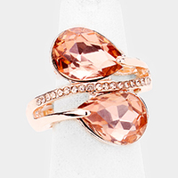 Double Teardrop Stone Stretch Ring