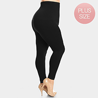 High Waist French Terry Lining Compression Plus Size Leggings