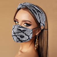 Snake Print Cotton Fashion Mask Headband Set