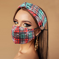 Tartan Check Snowflake Print Cotton Fashion Mask Headband Set