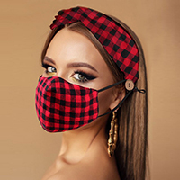 Buffalo Check Print Cotton Fashion Mask Headband Set