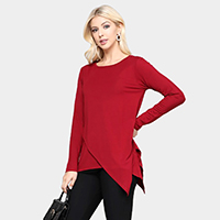 Long Sleeve Asymmetrical Hem Tunic Top