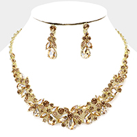 Floral Teardrop Marquise Stone Evening Necklace