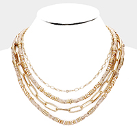 Multi Strand Beaded Metal Chain Bib Necklace