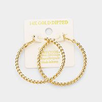 14K Gold Dipped 1.5 Inch Twisted Metal Hypoallergenic Hoop Earrings
