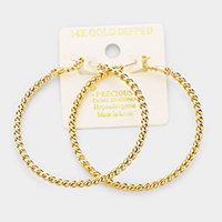 14K Gold Dipped 2 Inch Twisted Metal Hypoallergenic Hoop Earrings
