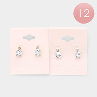 12Pairs - CZ Cubic Zirconia Round Accented Stud Earrings