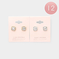 12Pairs - CZ Cubic Zirconia Square Stud Earrings