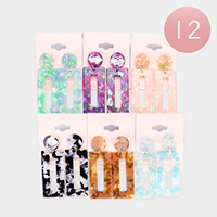 12Pairs - Celluloid Acetate Open Rectangle Dangle Earrings