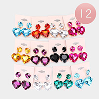 12Pairs - Round Heart Stone Link Dangle Earrings