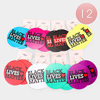 12Pairs - Black Lives Matter Wood Round Dangle Earrings