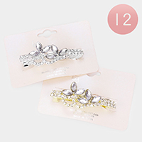 12PCS - Floral Marquise Stone Hair Barrettes