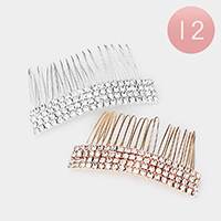 12PCS - Rhinestone Pave Rectangle Hair Combs